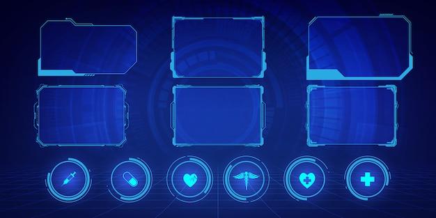 Gui, hud, interfejs użytkownika hi-tech ekrany ramek i małe objaśnienia do ikon opieki zdrowotnej wzór innowacji medycznych koncepcja tła projektu.