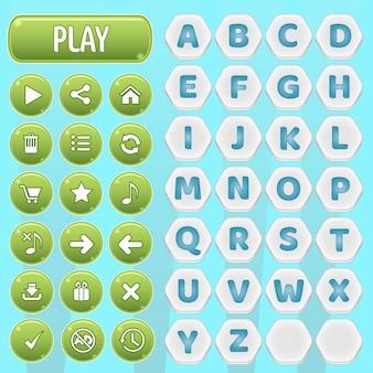 Gui przyciski i sześciokątne az alfabetu słowa gry.