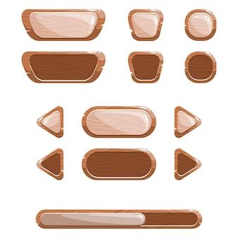 Gui, zestaw drewnianych przycisków z błyszczącymi efektami.