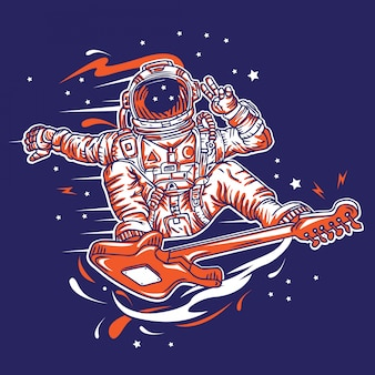 Guitar surfer out space