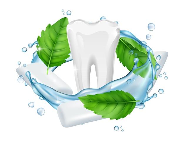 Guma do żucia. wektor świeżych liści mentolu, białej dziąsła, realistyczny ząb. ilustracja mięta zielona i guma mentolowa