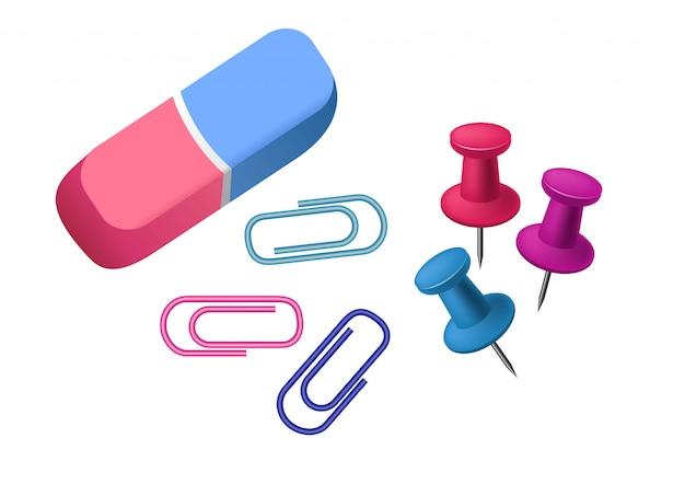 Gumka do mazania. guma, szpilka, spinacz do papieru. koncepcja papeterii.