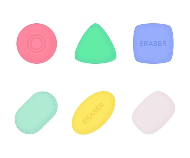 Gumki o różnych kształtach i kolorach z teksturą. kolekcja materiałów szkolnych i biurowych. płaskie wektor ilustracja na białym tle