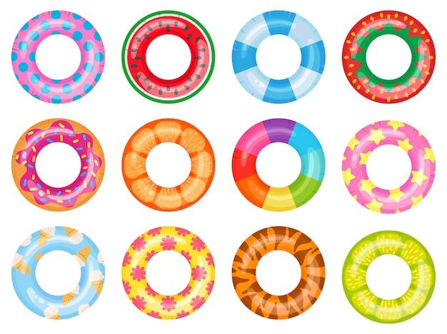 Gumowe koło do pływania. różowy ratownik, pływające pierścienie letniego basenu. zestaw ilustracji kreskówka pierścień ratunkowy tęczy widok z góry.