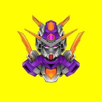 Gundam podstawowy projekt robota kostiumowego z nowoczesnym stylem ilustracyjnym dla godła budge