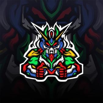 Gundam Robot Gaming Maskotka Logo E-sport Premium Wektorów