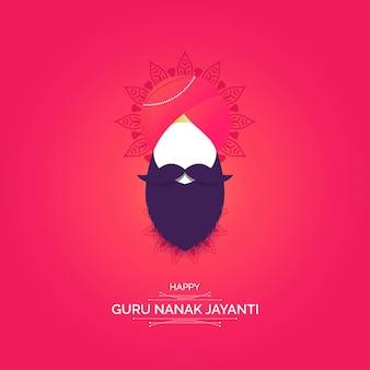 Guru nanak jayanti na różowym tle