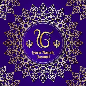 Guru nanak jayanti realistyczne tło z mandalą
