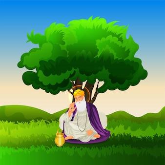 Guru nanak jayanti sikh pierwszy guru guru nanak dev ji ilustracja obchodów urodzin