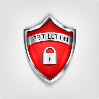 Gwarancja ikonę tarczy na białym tle. ochrona przed wirusami 3d kolor czerwony