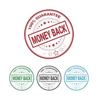Gwarancja zwrotu pieniędzy 100 procent odznaka zestaw na białym tle