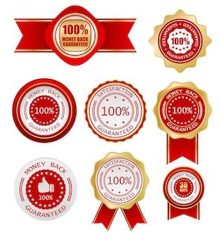 Gwarancja zwrotu pieniędzy etykieta wektor zestaw ikon biznesowych