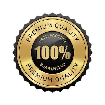 Gwarantowana 100% satysfakcja, odznaka najwyższej jakości, czarne i złote błyszczące metalowe luksusowe logo w stylu vintage