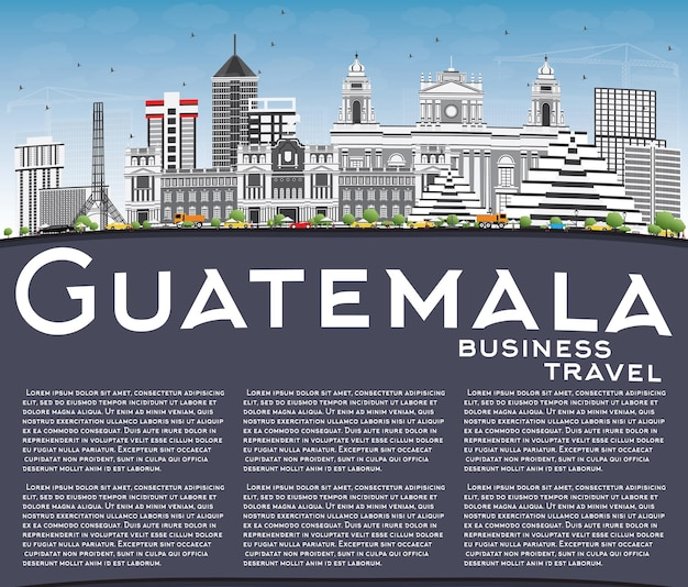 Gwatemala skyline z szarymi budynkami, błękitnym niebem i przestrzenią do kopiowania. ilustracja wektorowa. podróże służbowe i koncepcja turystyki z nowoczesną architekturą. obraz banera prezentacji i witryny sieci web.