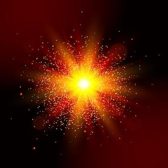 Gwiazda czerwone światło wybuchu