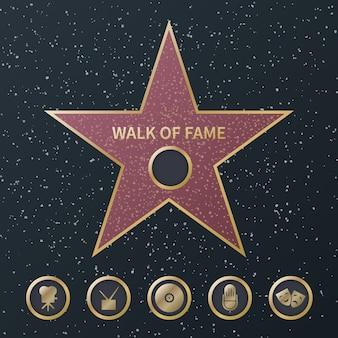 Gwiazda hollywood. symbol złotej gwiazdy sztuki i słynnego aktora z pięcioma ikonami kategorii filmów z nagrodami. bulwar gwiazd