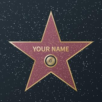 Gwiazda hollywood walk of fame. film celebrity boulevard award, granitowe gwiazdy uliczne znanych aktorów filmów sukcesu, image