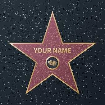 Gwiazda hollywood walk of fame. nagroda oscara na bulwarze gwiazd filmowych, granitowe gwiazdy ulicy znanych aktorów, filmy sukcesu, grafika wektorowa