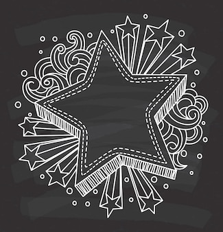 Gwiazda kształt dekoracyjna rama na chalkboard tle