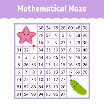 Gwiazda morska, ogórek warzywny. kwadratowy labirynt matematyczny. gra dla dzieci.