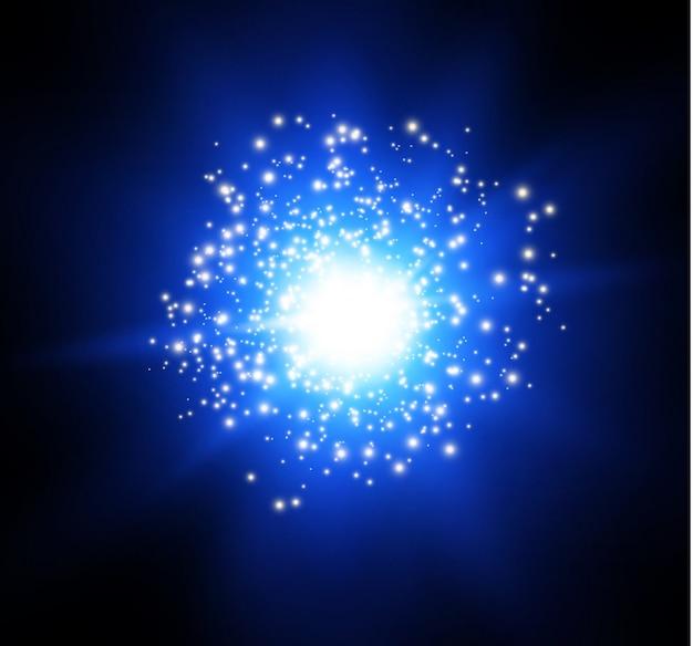 Gwiazda na przezroczystym tle, efekt świetlny, ilustracja. wybuch z iskierkami. słońce magiczne