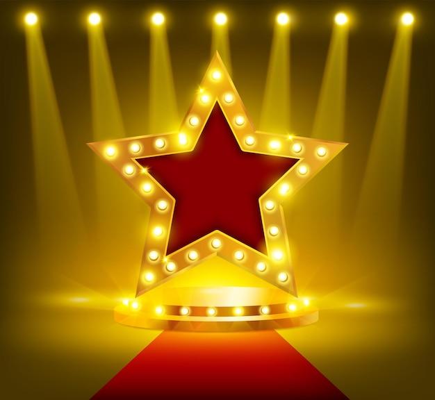 Gwiazda na realistycznej ilustracji podium