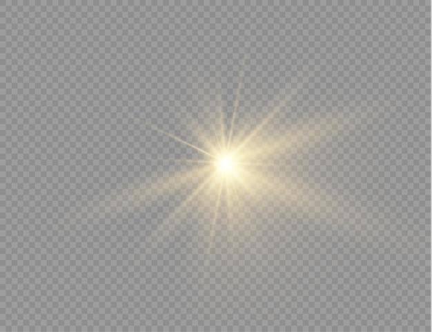 Gwiazda Pęka Z Blaskiem, Blask Jasnej Gwiazdy, żółte świecące światło Pęka Na Przezroczystym Tle, żółte Promienie Słoneczne, Złoty Efekt świetlny, Rozbłysk Słońca Z Promieniami, Ilustracja Wektorowa, Eps 10 Premium Wektorów
