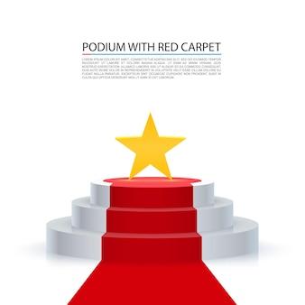Gwiazda podium z czerwonym dywanem, czerwone tło schodów