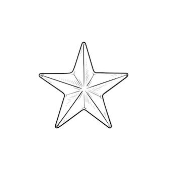 Gwiazda ręcznie rysowane konspektu doodle ikona. ocena i recenzja, oznaczenie i ulubione, sukces i ulubiona koncepcja