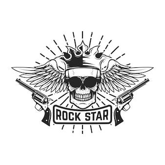 Gwiazda rocka. skrzydlata czaszka z koroną i pistoletami. element na logo, etykietę, godło, znak. wizerunek