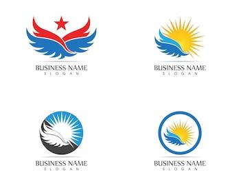 Gwiazda skrzydeł ikona logo projekt wektor