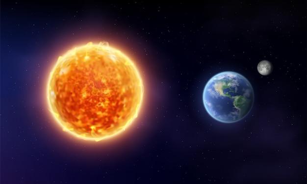 Gwiazda słońca i planeta ziemia z księżycem w przestrzeni. kosmiczne tło.