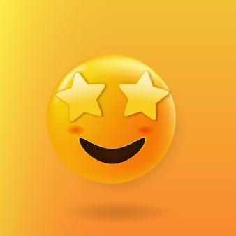 Gwiazda uderzyła w słodką twarz emoji z oczami gwiazdy