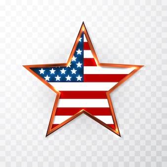 Gwiazda usa w barwach narodowych ameryki. dzień niepodległości.