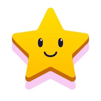 Gwiazda uśmiech twarz stylu cartoon dla dzieci gra urodziny wektor eps