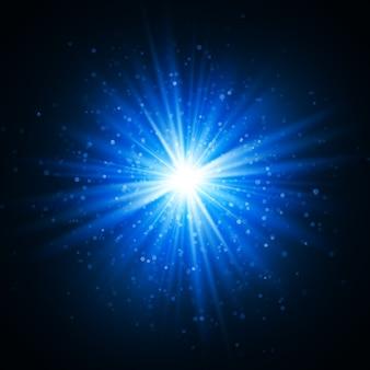 Gwiazda wybuchła iskierkami. efekt świetlny. złoty brokat tekstury.