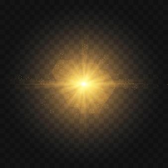 Gwiazda wybuchła iskierkami. zestaw żółtego świecącego światła wybucha na przezroczystym tle
