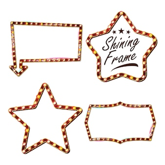 Gwiazda zestaw billboard wektor. shining star sign board. vintage golden illuminated neon light. karnawał, cyrk, styl kasyna. odosobniony