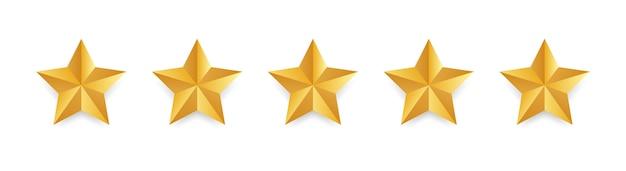 Gwiazda. złote pięć gwiazdek na białym tle. koncepcja opinii klientów. przegląd oceny gwiazdek. wysokiej jakości kształt.