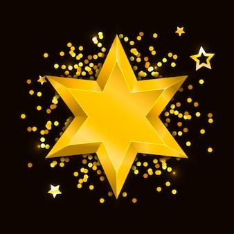 Gwiazdka realistyczne metaliczne złote na białym tle żółty boże narodzenie 3d