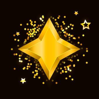 Gwiazdka realistyczne metalik złoty złoty żółty boże narodzenie 3d