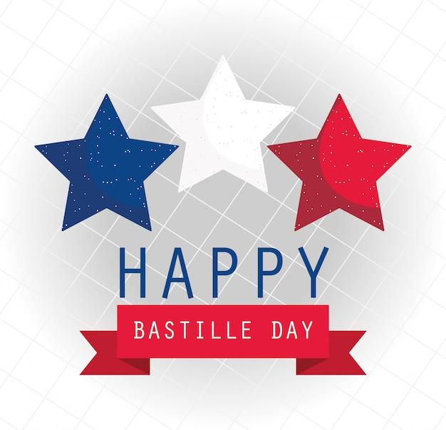 Gwiazdy francji ze wstążką szczęśliwego dnia bastylii