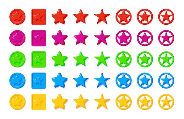 Gwiazdy gry elementy ikona kreskówka zestaw.
