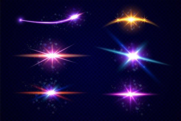 Gwiazdy i planeta zestaw na białym tle na przezroczystym tle