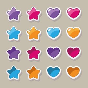 Gwiazdy i serca - przyciski do projektowania interfejsu i menu gier i aplikacji mobilnych i pc.