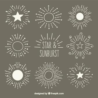 Gwiazdy i sunburst zestaw