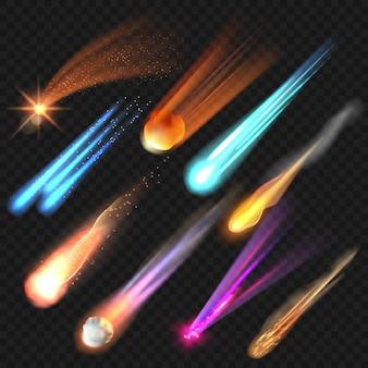 Gwiazdy kosmiczne. realistyczne świecące planety meteor wektor zestaw kolekcja astronomii. świecąca eksplozja kosmosu, błyszcząca na zewnątrz. wybuch komety, armageddon strzelający ilustracja meteorytów
