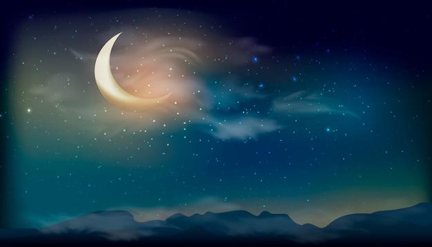 Gwiazdy na nocnym niebie, gwiaździste światło, galaktyki tła. nocy krajobrazowy tło z dużym księżyc.