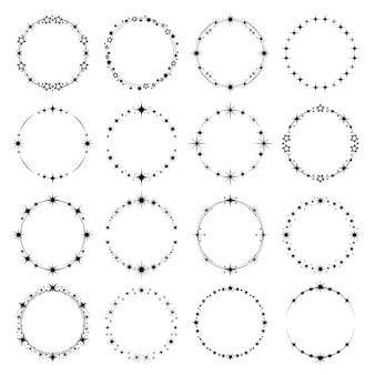 Gwiazdy okrągłe ramki. pierścienie gwiezdnego pyłu świecą efekt party, wirując, wektor zaokrąglony kosmicznej mody magicznych gwiazd. gwiazda zaokrąglona ramka, pierścień monochromatycznej gwiazdki ilustracja