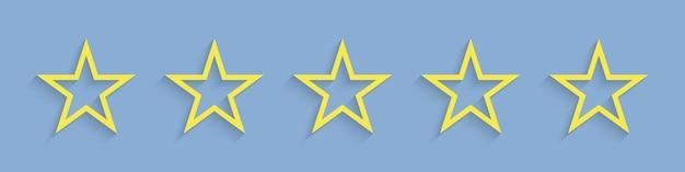 Gwiazdy. widok z pięcioma gwiazdkami w żywym kolorze żółtym.
